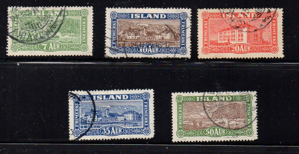 Iceland Scott  144-8 1925 Postal System stamp set used