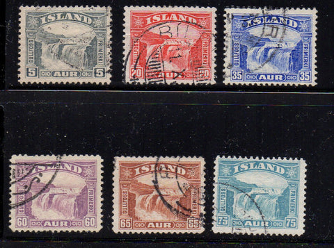 Iceland Scott  170-5 1931-2 Golden Falls stamp set used