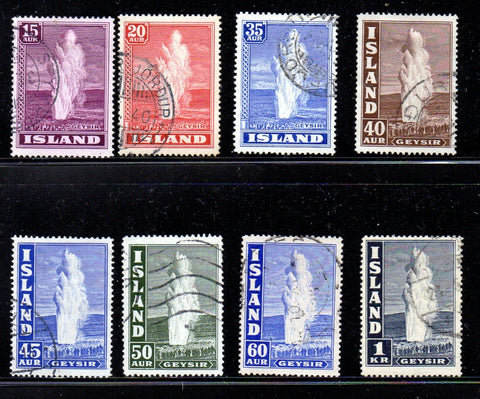 Iceland Scott  203-08B 1938-47 Geysers stamp set used