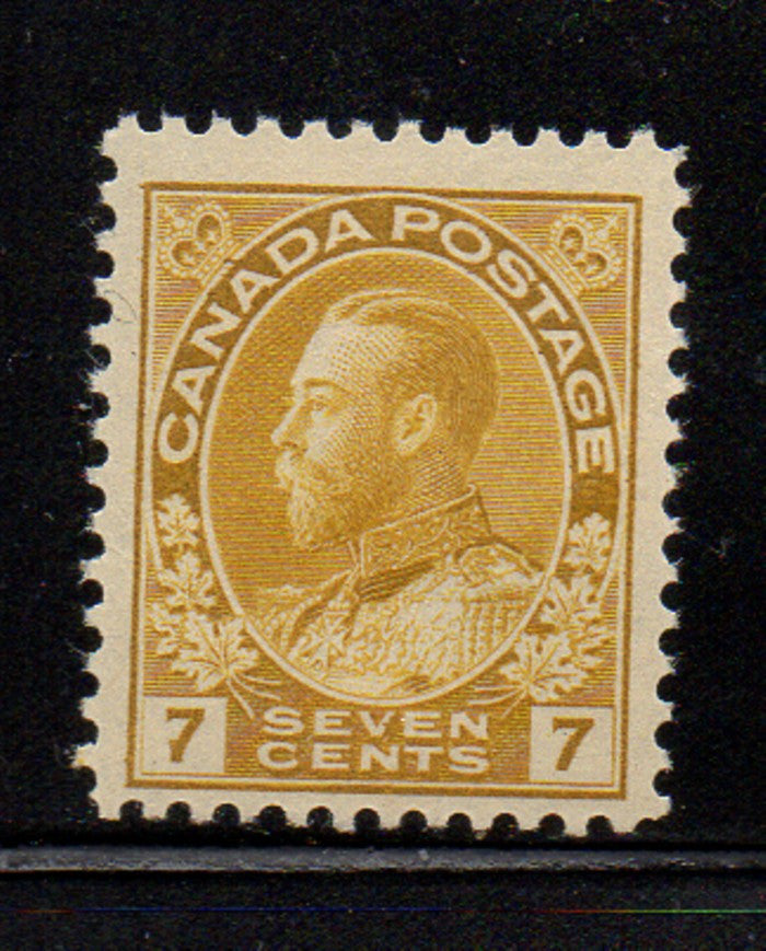Canada Scott 113 1912 7c Yellow GV Admiral issue stamp mint NH