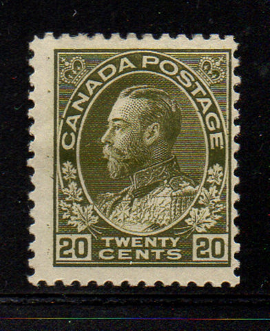 Canada Scott  119 1925 20c olive green GV Admiral issue stamp mint