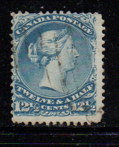 Canada Scott  28 1868 12 1/2c large Queen Victoria stamp used