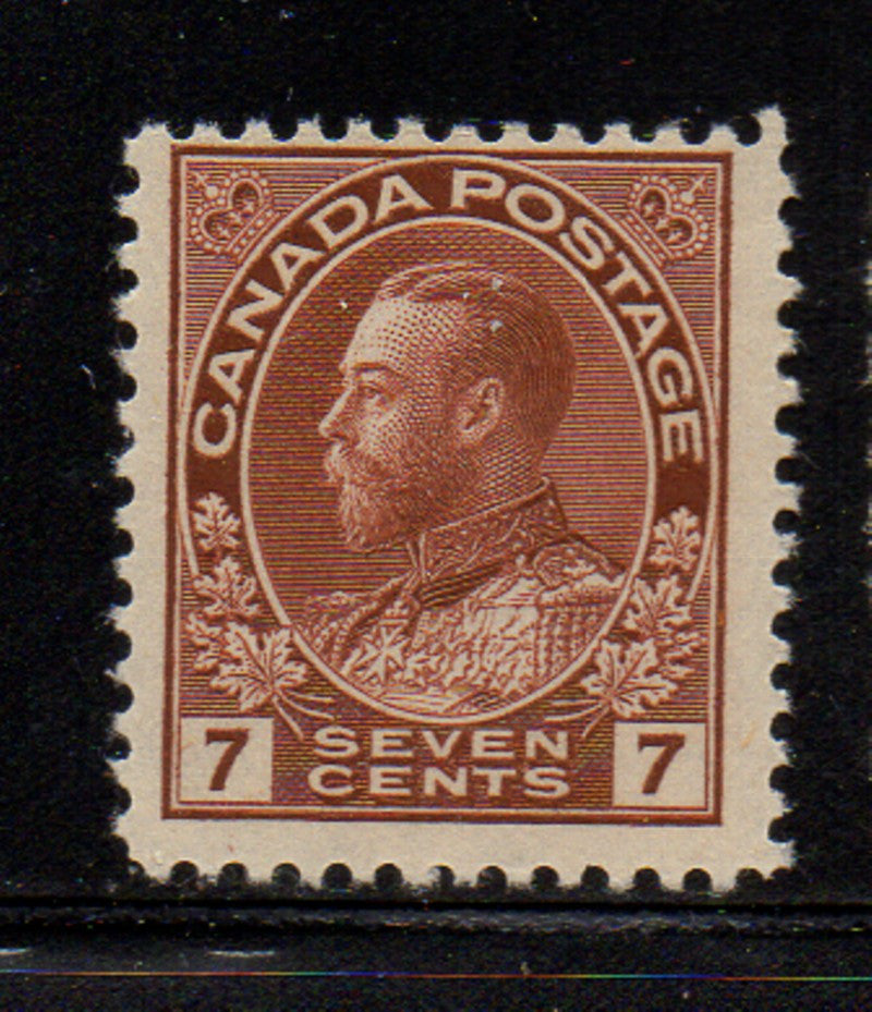 Canada Scott  114 1924 7c red brown G V Admiral stamp  mint