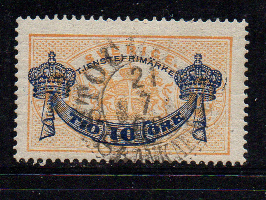 Sweden Scott  O27 1889 10 ore on 24 ore Official stamp used