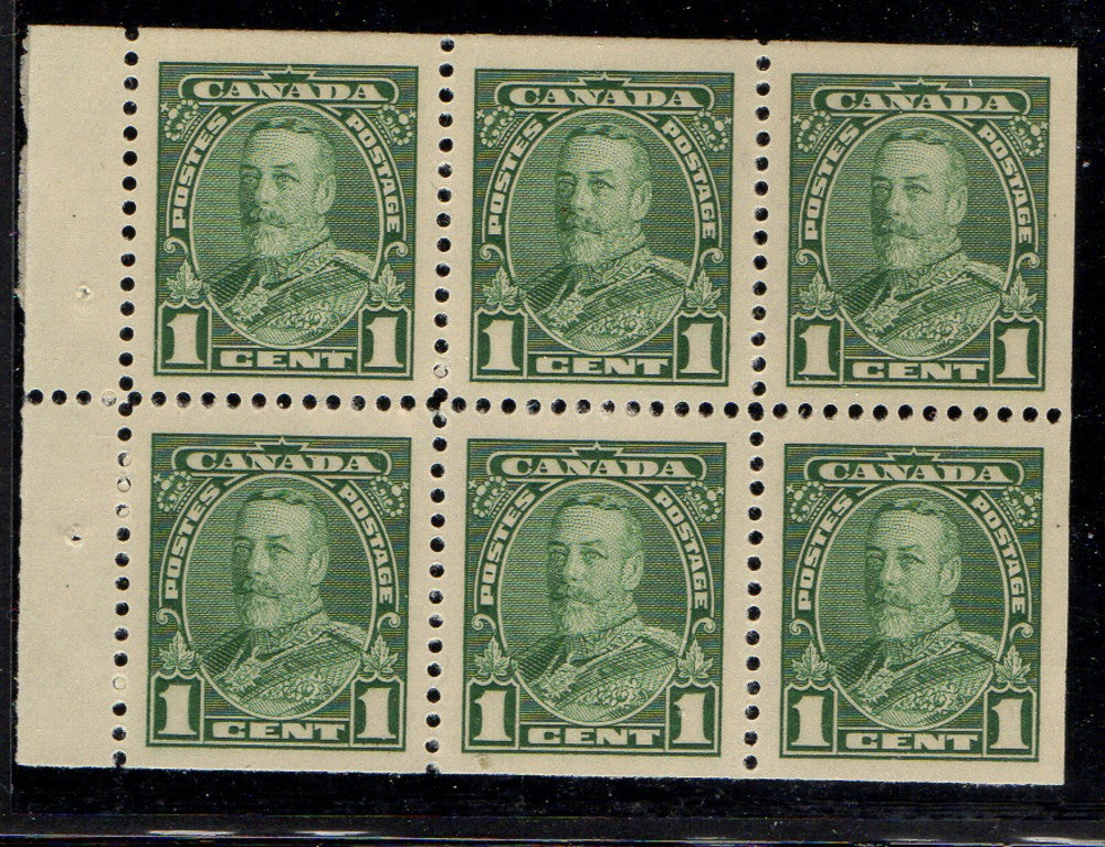 Canada Scott 217b 1935 1c green George V stamp booklet pane of 6 mint