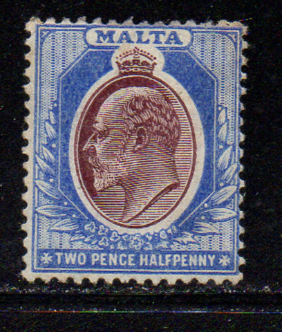 Malta Scott 35 1904 2 1/2d ultra & violet E VII stamp mint