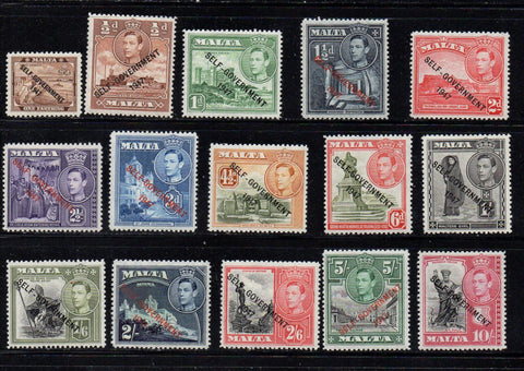 Malta Scott 208-22 1948 G VI Self Government long stamp set mint