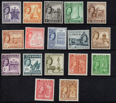 Malta Scott 246-62 1956-7 1st long  QE II stamp set mint