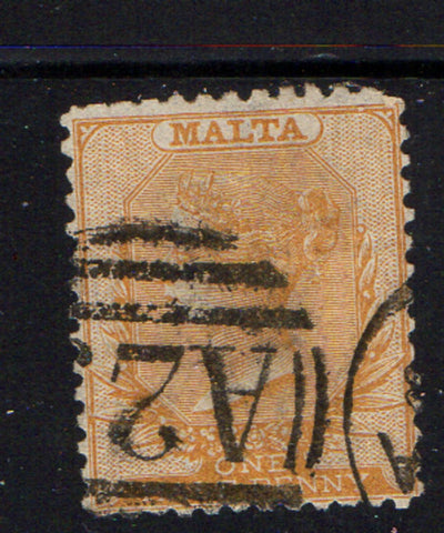 Malta Scott 5a 1865 1/2d yellow buff Victoria  stamp used