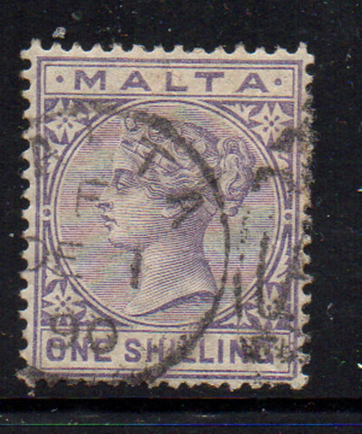 Malta Scott 13 1885 1/ violet Victoria  stamp used