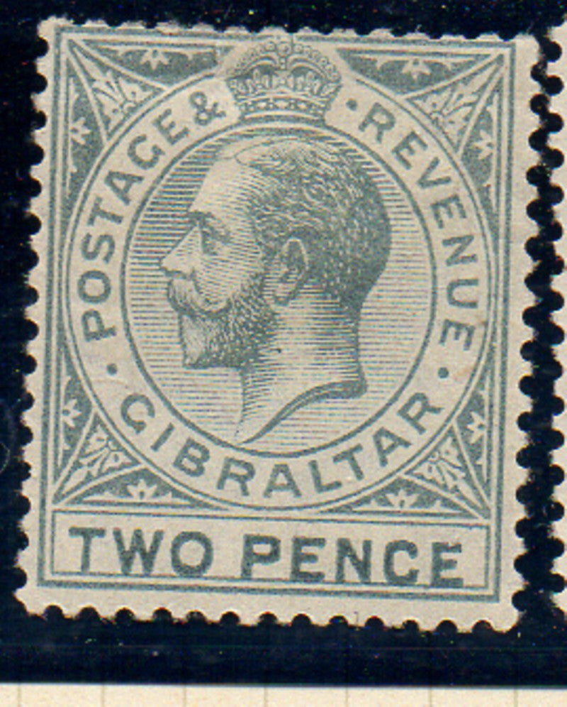 Gibraltar Scott  68 1912  2d gray George V stamp mint