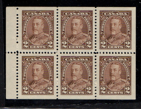Canada Scott 218b 1935 2c brown George V stamp booklet pane of 6 mint