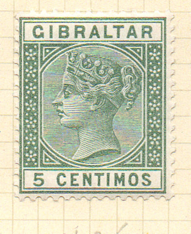 Gibraltar Scott  29 1889 5 centimos green Victoria stamp mint