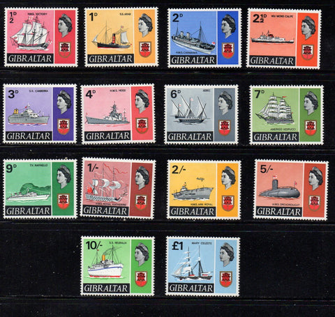 Gibraltar Scott  186-99(no 191A) 1967 ship stamp set mint NH