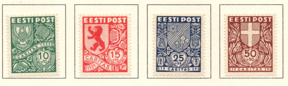 Estonia Scott B41-44 1939 Coats of Arms stamp set mint