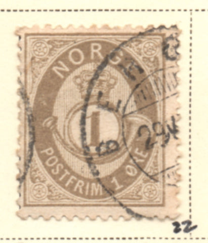 Norway Scott  22 1877 1 ore drab Post Horn stamp used