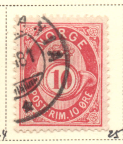 Norway Scott  25 1877 10 ore rose Post Horn stamp used