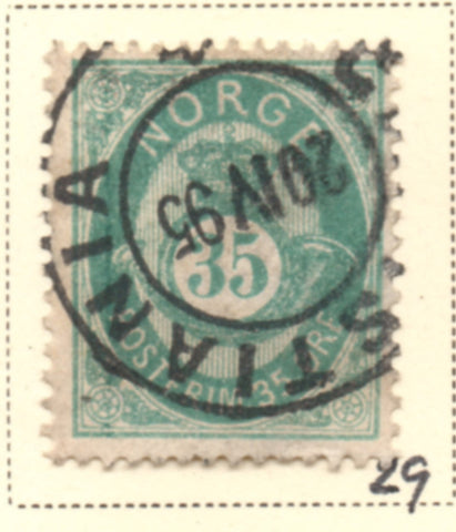 Norway Scott  29 1878 35 ore blue green Post Horn stamp used