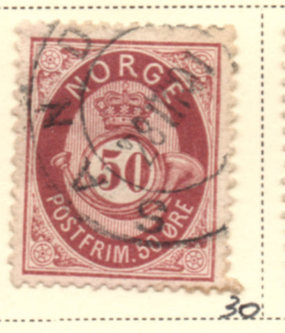 Norway Scott  30 1877 50 ore maroon Post Horn stamp used