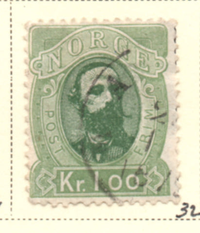 Norway Scott  32 1878 1 kr Oskar II stamp used
