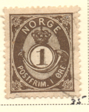Norway Scott  35 1886 1 ore black borwn Post Horn stamp used