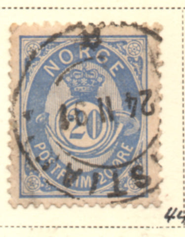 Norway Scott  44 1886 20 ore blue Post Horn stamp used