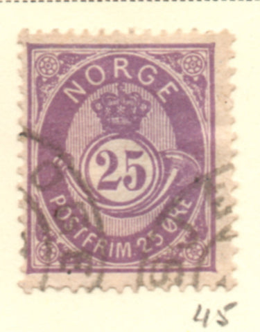 Norway Scott  45 1884 25 ore dull violet Post Horn stamp used