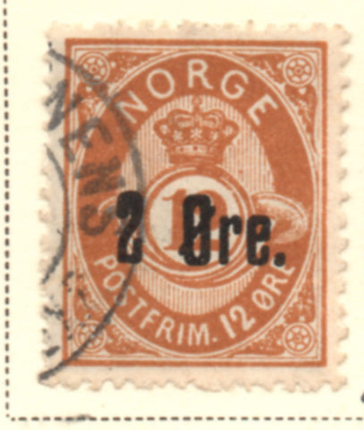 Norway Scott  46 1888 2 ore ovpt on 12 ore Post Horn stamp used