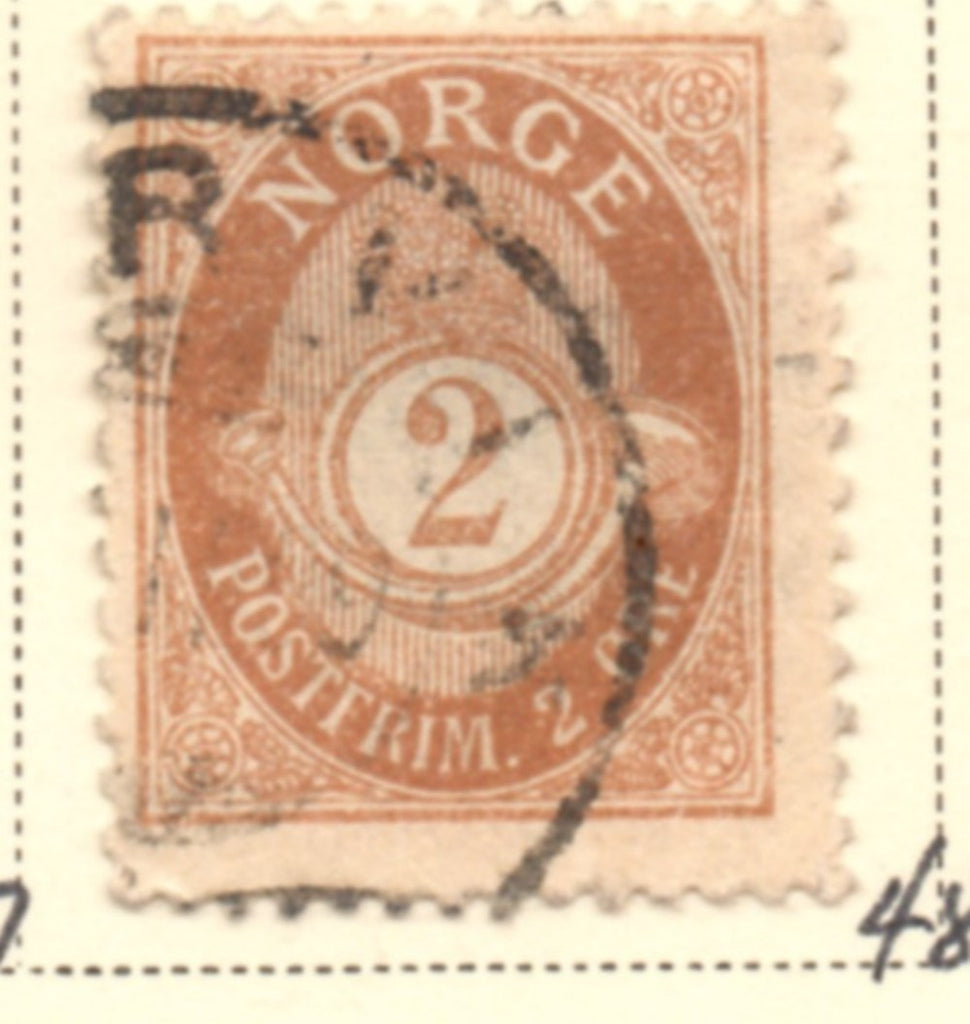 Norway Scott  48 1899 2 ore brown Post Horn stamp used