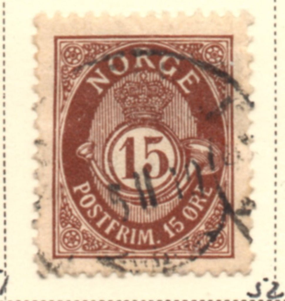 Norway Scott  52 1908 15 ore brown Post Horn stamp used