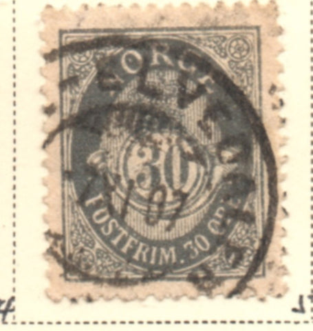 Norway Scott  55 1907 30 ore slate gray Post Horn stamp used