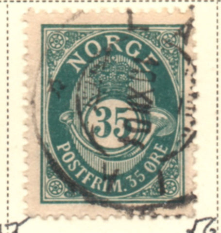 Norway Scott  56 1898 35 ore blue green Post Horn stamp used