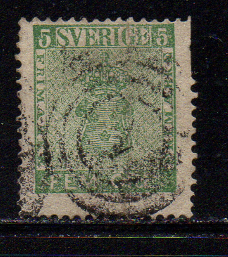 Sweden Scott  6a 1858 5 ore deep green Coat of Arms stamp used