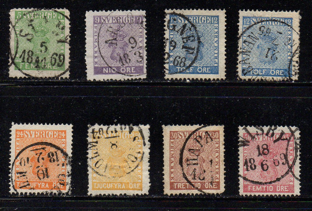 Sweden Scott  6-12 1858-61  Coat of Arms stamp set used