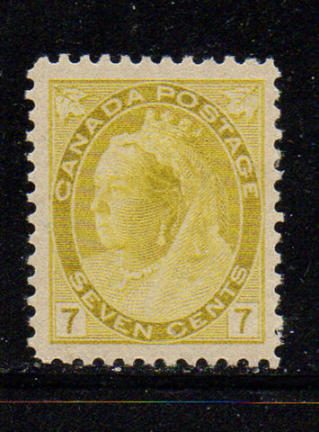Canada Scott  81 1902 7c yellow Victoria numeral issue stamp mint