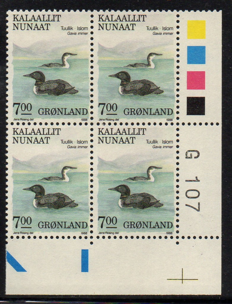 Greenland Scott  186 1988 7kr bird stamp plate block of 4 mint NH