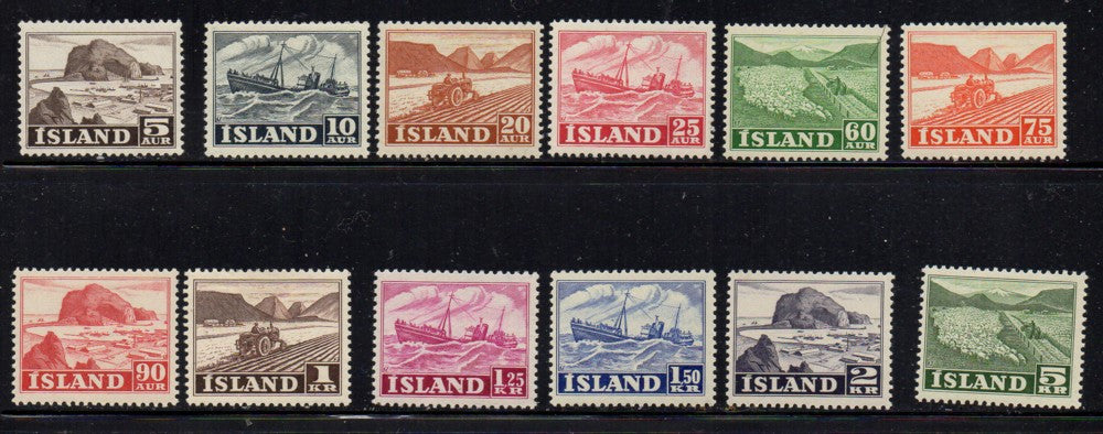 Iceland Scott 257-68 1950 Trawler Tractor sheep stamp set mint