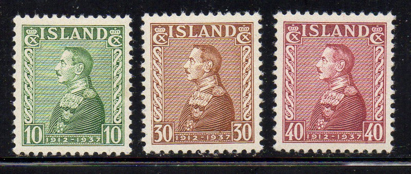 Iceland Scott  199-201 1937 Christian X stamp set mint