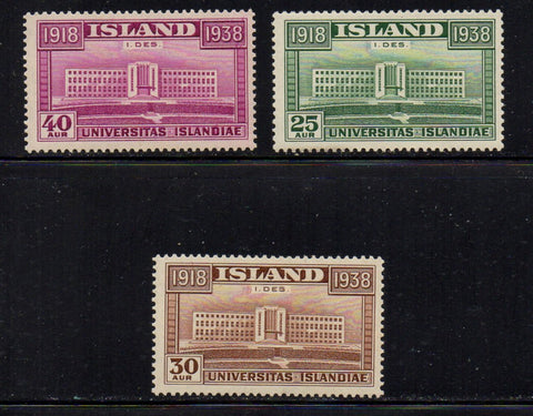 Iceland Scott  209-11 1938 University Indpendence stamp set mint