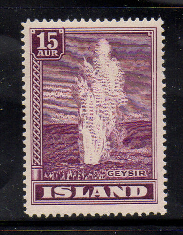 Iceland Scott  203 1938 15 aur Geyser stamp mint