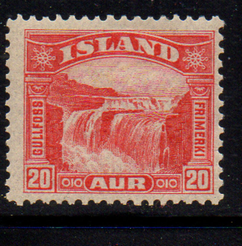 Iceland Scott 171 1931 20 aur red Golden Falls stamp mint