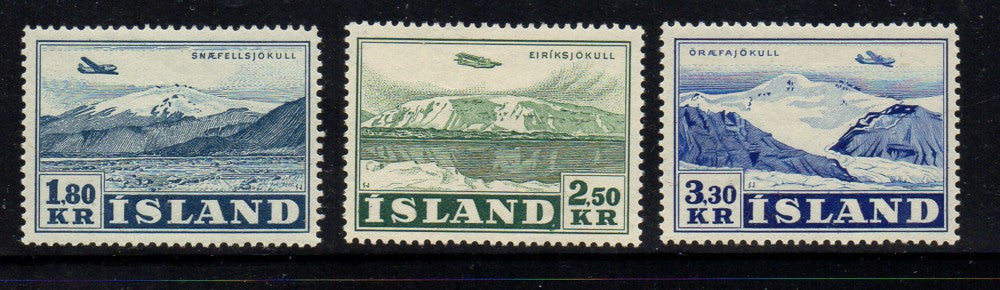 Iceland Scott C27-29 1952 Airplanes over Glaciers Airmail stamp set mint