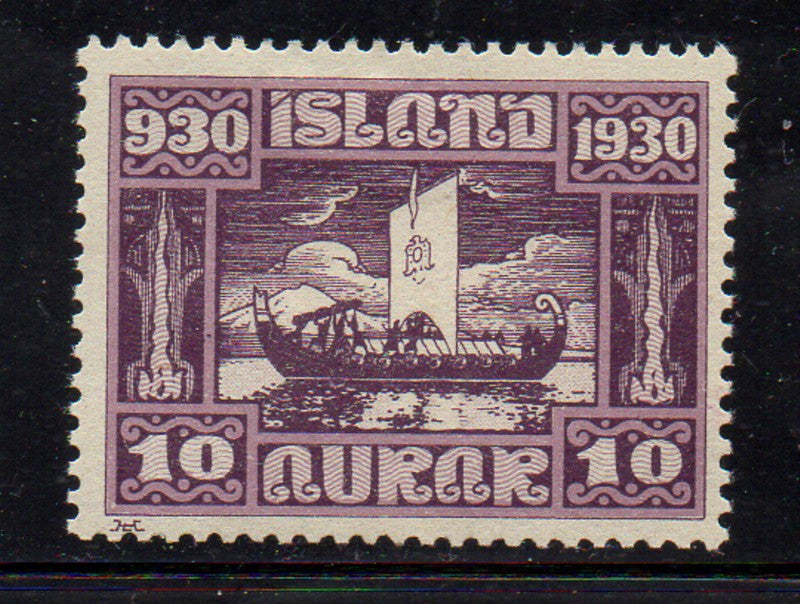 Iceland Scott 155 1930 10 aur Viking Funeral stamp mint