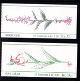 Norway Scott 971a, 973a 1990 1992 Orchid stamp booklets mint NH