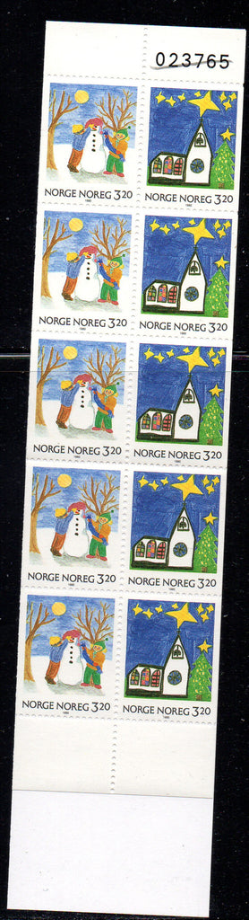 Norway Scott 987a 1990 Christmas stamp booklet mint NH