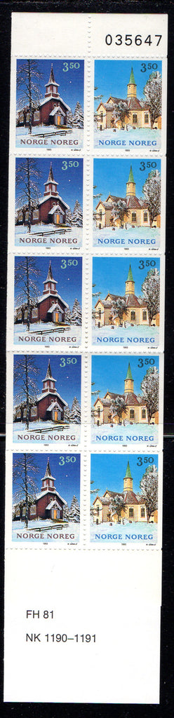 Norway Scott 1050b 1993 Christmas stamp booklet mint NH