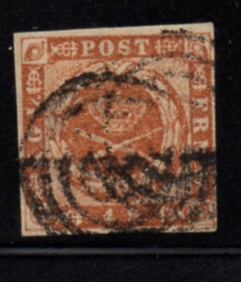 Denmark Scott  2 1851 4 rs brown Royal Emblems stamp used