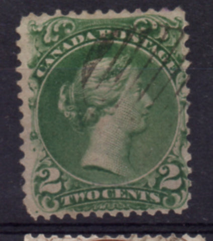 Canada Scott  24 1868 2c green large Queen Victoria stamp used