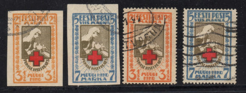 Estonia Scott  B5-8 1921 Nurse & Soldier stamp set used