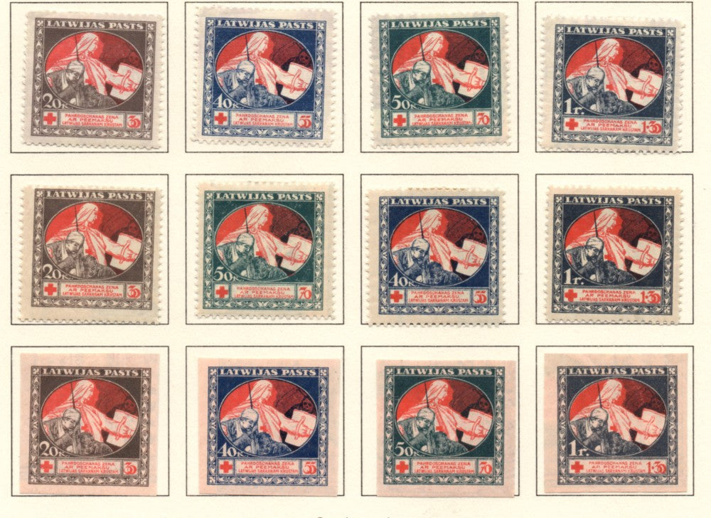 Latvia Scott  B1-12 1920 mercy & Wounded Soldier stamp set mint